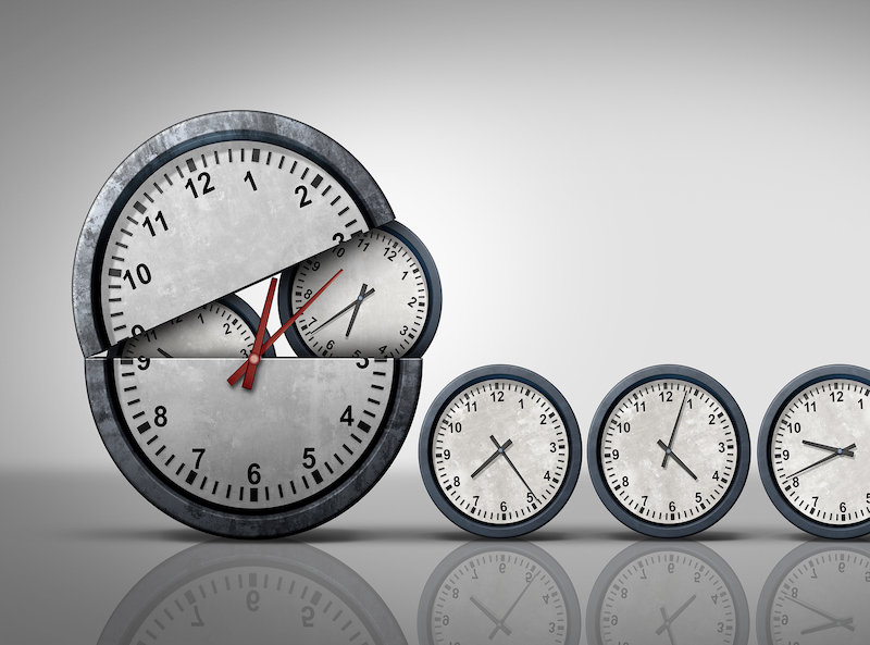 Making time and multitasking concept as a symbol for increase of business efficiency and working hours or busy growing work schedule management as an open clock releasing smaller clocks as a 3D illustration.
