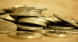 Banner of gold money coins - lending wealth money concept
